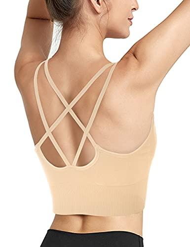 Maintain Vigour Sport-BH mit Trägern, sexy Criss Cross Back Workout, gepolsterte Yoga-BHs, Crop Top mit abnehmbaren Cups - Beige - small