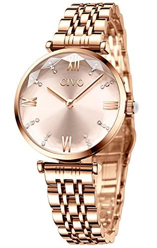 Reloj Mujer Relojes Oro Rosa Pulsera Analogico Minimalistas Acero Impermeable Inoxidable Reloj para Mujeres Moda Casual Calendario Fecha Negocios Vestid Cuarzo