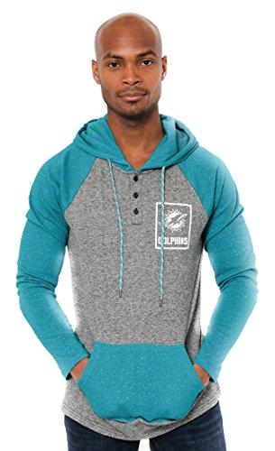 Ultra Game NFL Miami Dolphins Mens Fleece Hoodie Pullover Sweatshirt Henley, Team Color, Medium>