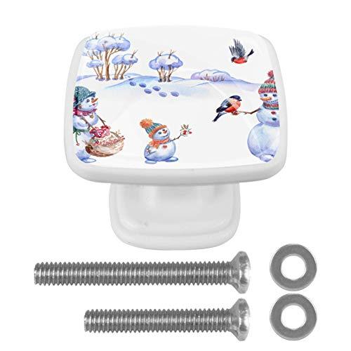 4 pomos de cristal para armario de cocina, armario, escritorio, muñeco de nieve, color blanco