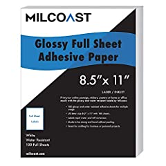 "100 glossy adhesive white sheets for multiple uses. Made to resist light water drops and light splashes. Not made to submerse in water. US letter size 8.5"" x 11"" with 100 sheets. Premium quality labels repel water and will not smear. Made to be stron..."