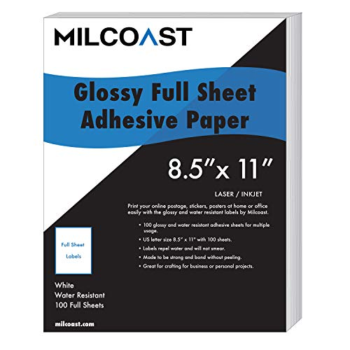 Milcoast Full Sheet 8.5' x 11' Shipping Sticker Paper Adhesive Labels Glossy for Laser or Inkjet Printer (100 Full Sheet)
