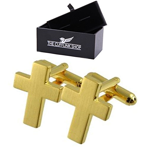 The Cufflink Shop En acier inoxydable religieux crucifix d'or Boutons de manchette boite-cadeau de luxe inclus