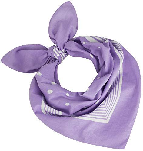 Tobeni 000803 Mujer Hombre Nicki Pañuelo Bufanda Cabeza Puntos Bufandas Algodón Unisexo Color Lila Tamaño 55 cm x 55 cm