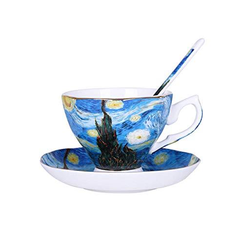 Yrtdf The Van Gogh Art Painting Tazas de café The Starry Night Sunflowers The Sower ises Coffee Tea Cups 180ml