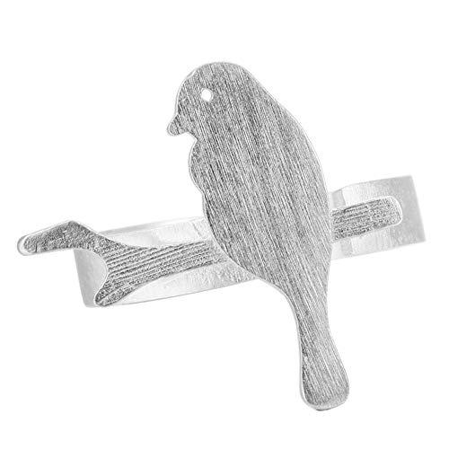 LYLLXL Anillo Mujer Ajustable, Vintage Abierto Ajustable S925 Silver Rama Animal Pájaro Pequeño Modelado De Joyería para Boda Mujeres Hombres Par