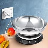 Báscula digital de cocina, recargable por USB, de acero inoxidable, báscula de cocina con cuenco desmontable de 11 lb/5 kg, báscula digital eléctrica impermeable, botón táctil invisible, función tara