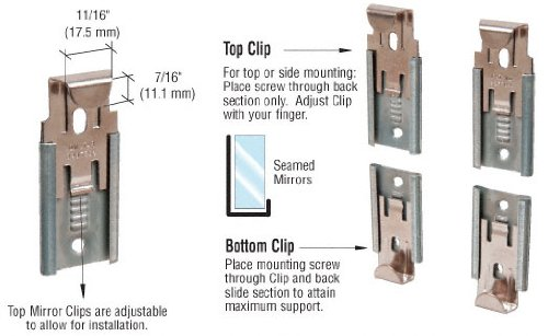 CRL Nickel Plated Adjustable Mirror Clip set for 3/8 in (10 mm) Straight Edge Glass - Package