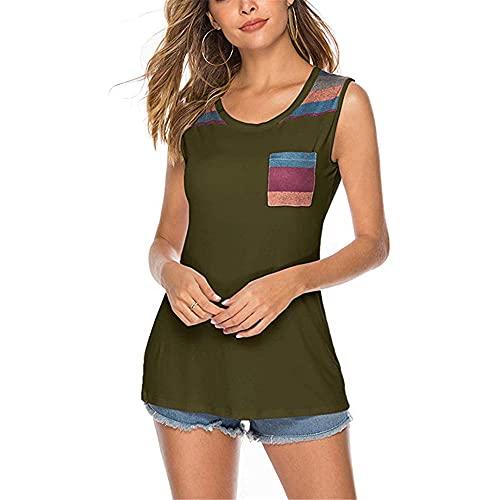 Camiseta Mujer Elegante Elegante Cuello Redondo Camiseta Sin Mangas Verano Mujer Tops Moda Casual Vacaciones Cómodas Dulce Sexy Nuevas Mujeres Tops Mujer Camisa E-Green S