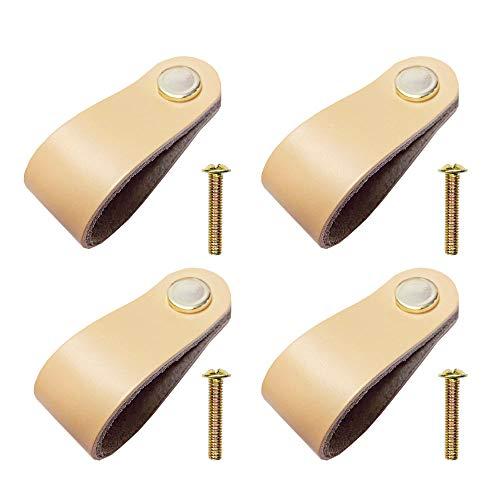 Jurxy - Tirador de puerta de piel con un solo agujero para puerta (6,9 x 2,0 x 0,8 cm (largo x ancho x alto). Botones de armario de cocina con tornillos, 4 unidades, color amarillo claro mediano