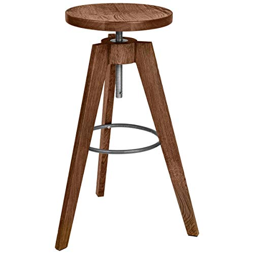 VEGA 10009007 Barhocker Vitto, 38x38x87 cm (BxTxH), Sitz eiche antik/braun, Gestell eiche antik/braun, 1 Stück