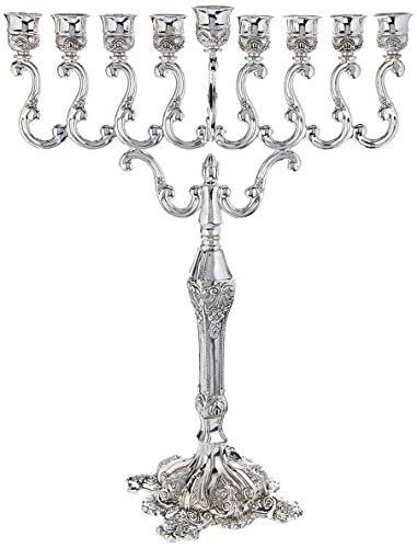 Hanukkah Menorah - Oil Menorah Traditional Silver Plated 19.5' X 5.5'