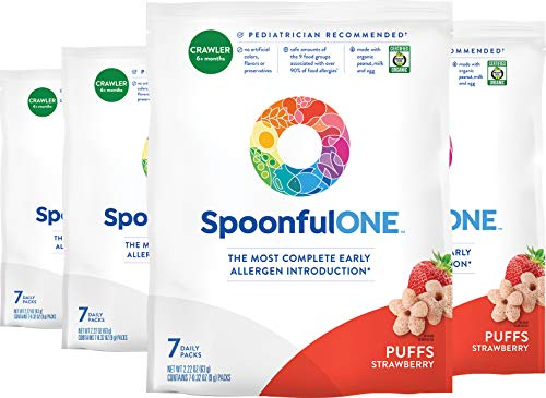 SpoonfulONE Food Allergen Introduction Puffs | Smart Feeding Snack for an Infant or Baby 6+ Months | Certified Organic (Strawberry - 28 Pack)