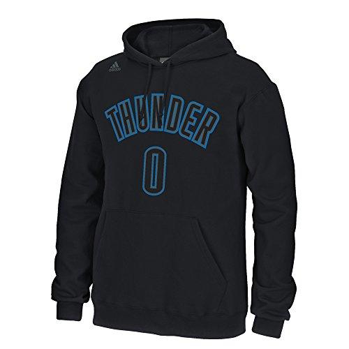 adidas Russell Westbrook Oklahoma City Thunder Negro Nombre y número de Manga Larga Sudadera con Capucha para Hombre, Hombre, Negro