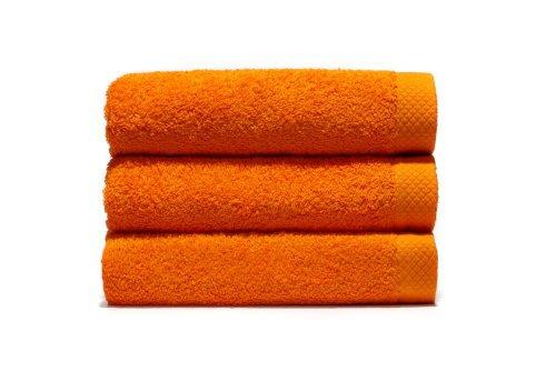 Lasa Pure Juego 3 Toallas, algodón 100%, Naranja, Baño (100 x 150 cm), Lavabo y tocador