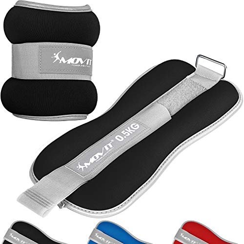 Movit® 2er Set Gewichtsmanschetten Neopren mit Reflektormaterial und Frottee-Einsatz Laufgewichte für Hand- und Fußgelenke 2X 1,0 kg schwarz