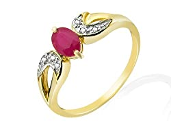 Hallmarked 9ct Yellow Gold - total metal weight 1.826 grams. Genuine gemstones: 1 x oval cut Ruby totalling 0.632 carats, with Diamond accents totalling 0.026 carats (DIA stamped). Ring Size: UK N, US 6 1/2, French 54, German 17 Ring comes in a brand...
