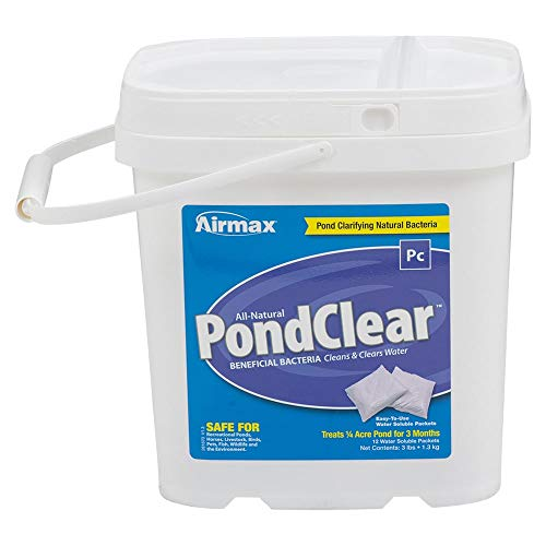 Airmax PondClear Natural Beneficial Bacteria, Cleans & Clarifies, Water Treatment, Safe for Fish, 12 Packets Treats 1/4 Acre Pond Up to 3 Months