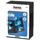 Hama DVD Triple Box - Funda para DVD (Capacidad: 3 discos, 5 unidades), negro