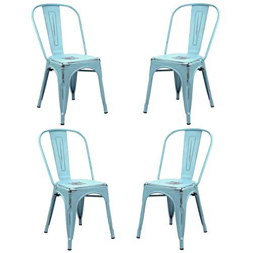 Vaukura Silla Oliix (Pack 4) - Silla Industrial Metálica Vintage (Azul)
