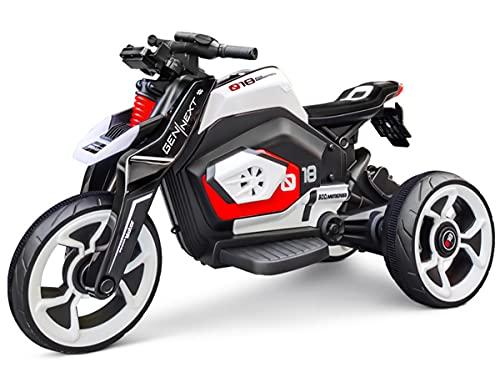 ZHBD Los Niños Viajan En La Motocicleta, El Triciclo De Juguete con La Batería De 12V con El Faro/La Música/El Soporte para Teléfono Móvil, La Bicicleta Motorizada Eléctrica para Niños,Blanco