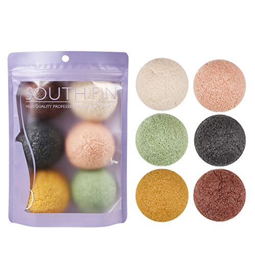 Konjac Exfoliating Organic Facial Sponge Set, Gentle Daily Face Scrub/Skincare, Infused with Best Bamboo Activated Charcoal 6 Pack Set/Semicircle-6 Pcs