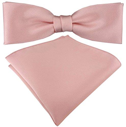 TigerTie vorgebundete schmale Satin Fliege Einstecktuch in rosa Uni einfarbig + Aufbewahrungsbox