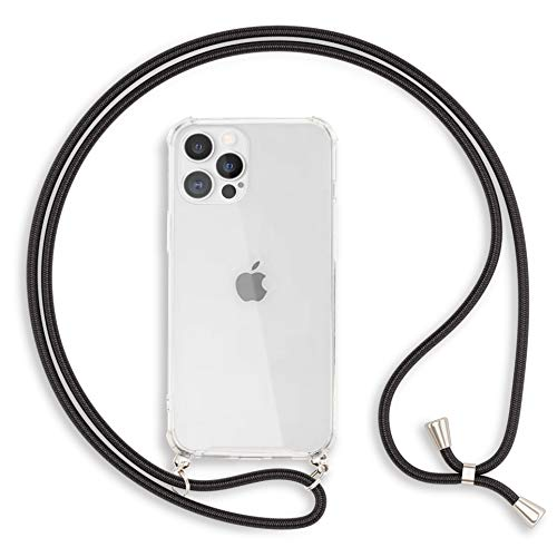 Kaliroo Necklace Hülle kompatibel mit iPhone 12 PRO MAX Hülle, Transparente Schutzhülle mit Kette Slim Hardcase mit Umhänge-Band, Handy-Schnur Cover Durchsichtige Handy-Tasche und Kordel, Farbe:Schwarz