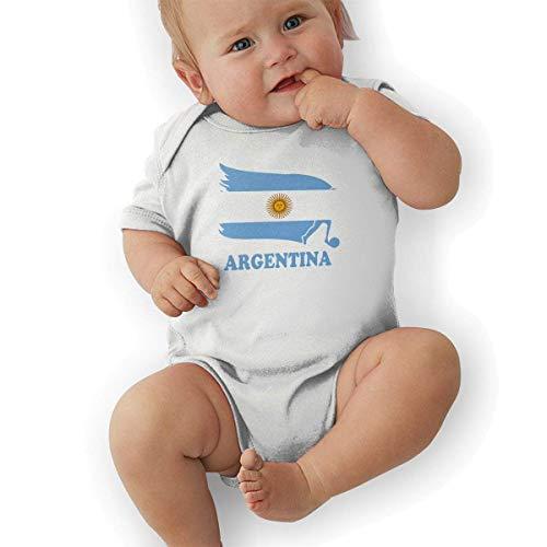Argentina Fútbol Bandera de Fútbol Ropa de Bebé Niñas Recién Nacidas Mameluco de Manga Corta Mamelucos Blanco 12 M