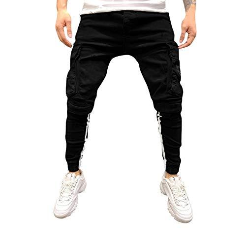 Qmber Hosen Herren Jeans Destroyed Slim fit Hose Herren Jeans Destroyed Sommer Hosen Herren Jogger Jeans mit löchern schwarz Hosen Herren Slim fit Stretch Freizeithose Herren (M, schwarz)