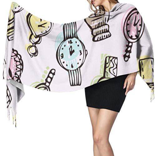 Inicio Ideas de moda Accesorios Reloj para mujer Bufanda con flecos Bufanda para mujer Bufanda con flecos grande y ligera 77x27 pulgadas / 196x68cm Pashmina suave grande extra cálida