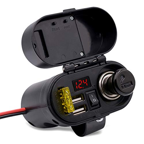 SANON ABS Black Motorcycle Cigarette Lighter USB Charger Waterproof Dual USB Port Charger with Voltmeter Time Display