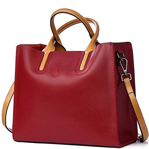 XinMeiMaoYi Mochila Exterior Bolsos De Cuero De Negocios Al Aire Libre Bolso De Hombro/Bolso Bandolera Simple Wild Lady Big Bag (Color : Red)