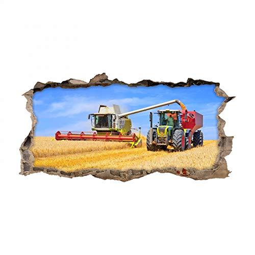 nikima Schönes für Kinder 134 Wandtattoo Mähdrescher und Traktor - Loch in der Wand - Coole Kinderzimmer Sticker Aufkleber Wanddeko Wandbild Junge Trecker - Größe 1250 x 630 mm