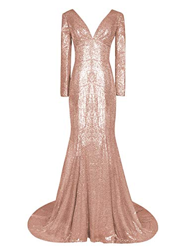 LMBRIDAL Women's V Neck Sequin Prom Dress Long Sleeve Mermaid Formal Evening Dress Rose Gold 18W