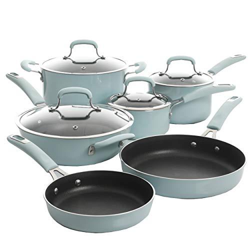 Kenmore Andover - Juego de utensilios de cocina de aluminio forjado antiadherente (10 piezas), color azul