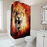 kikomia Wasserdicht Duschvorhang Fantasy Tiger Rauch Druck Duschvorhänge Inneneinrichtung white 91x180cm