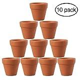 OUNONA Lot de 10 pots en terre cuite de 4,5x5cm pour cactus, fleurs, plantes grasses. Parfaits pour le jardinage, le bricolage ou des cadeaux de mariage.