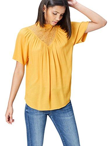 find. Bluse Damen mit Raffungen und Spitzenbesatz, Orange (Mango), 40 (Herstellergröße: Large)