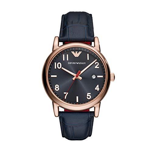 Emporio Armani Men's Sport Stainless Steel Quartz Watch with Rubber Strap, Black, 20 (Model:...