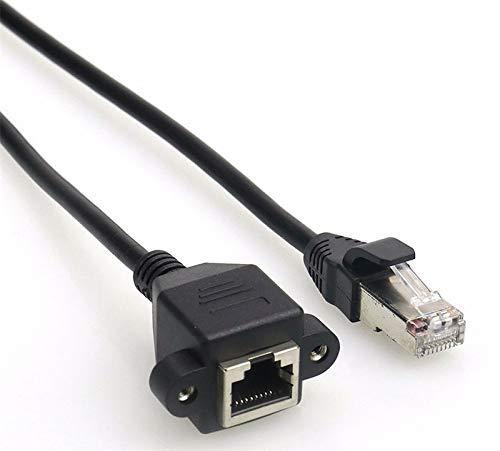 Durable RJ45 8P8C FTP STP UTP Cat 5e Macho a Hembra LAN Ethernet Extensión de Red 1FT 2FT 5FT con Cable de Orificios de Montaje en Panel - (Longitud del Cable: 1 m) (Color : 1m)