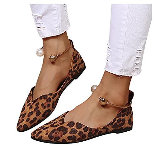 Xiangdanful Zapatillas de mujer redondas, informales, informales, antideslizantes, transpirables, para caminar, correr, al aire libre, planas marrón 42