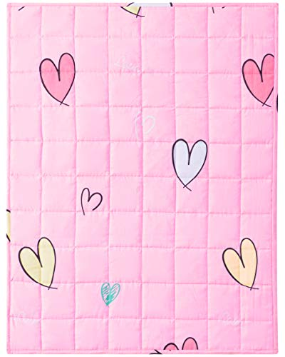 Joyching Kids Weighted Blanket 10 Pounds 600TC Egyptian Cotton Heavy Blanket with Glass Beads Toddler Weighted Comforter (Pink Heart, 48 x 60 inches)