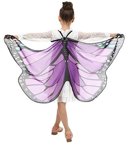 WEXCV Damen Mädchen Schmetterling Flügel Cape Schal mit Maske Poncho Schal Wrap Pixie Ladies Karneval Cosplay Fee Faschingkostüme Frauen Kinder Kostüm Schmetterlingsflügel Umhang(168*135)
