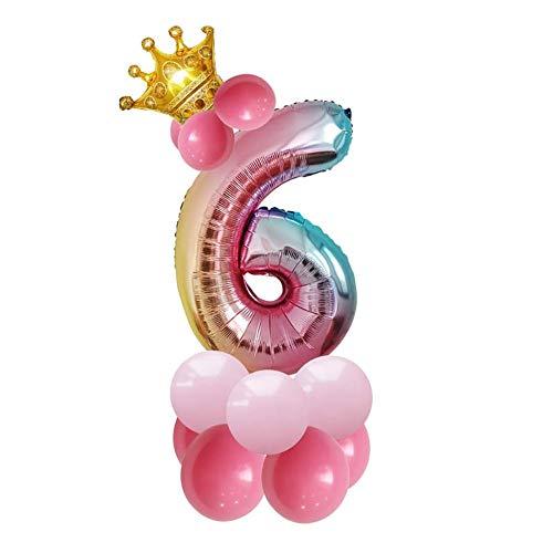 Cosanter Party Dress Up Balloon Globo Número 6 para El Hogar Tienda Tienda 32 Pulgadas Película De Aluminio