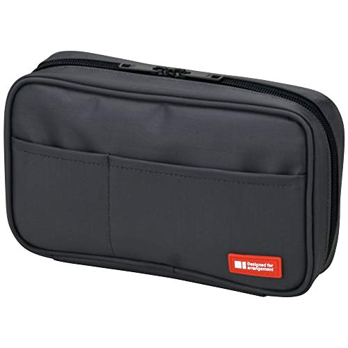 LIHIT LAB Zipper Pen Case, 7.9 × 2 × 4.7 Inches, Black (A7551-24)