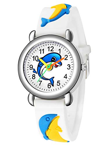 Relojes Niños de Pulsera Impermeable Deportivode Dibujos Animados para Chicas Niñas Relojes de Caucho Azul Analógico Moda Diseñador Elegantes de para Niños Niñas Chicas Blanco