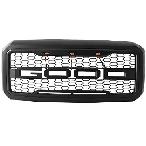 IKON MOTORSPORTS, Front Grille Compatible With 2011-2016 Ford F-250 F-350 Raptor Style Front Bumper Grille Matte Black