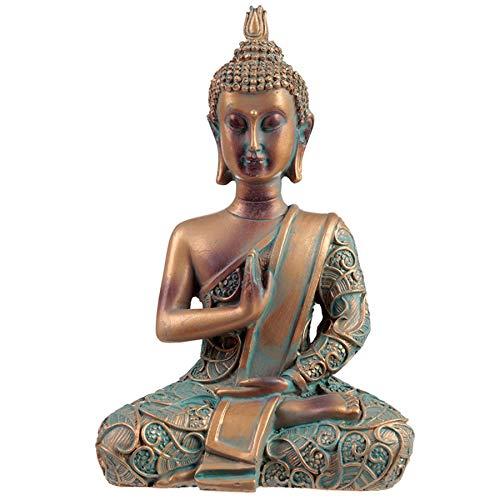 Figurine Bouddha Thailandais Cuivré & Vert de Gris Illumination