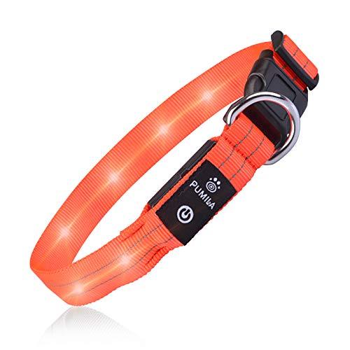 PcEoTllar LED Hundehalsband Leuchthalsband Wasserdicht Leuchten Hundehalsband USB Wiederaufladbare Blinkende Hundehalsbänder Einstellbar Super Bright für Nacht Dunkel - Orange - L